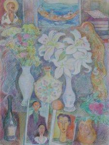 Лилии с работой Модильяни в интерьере