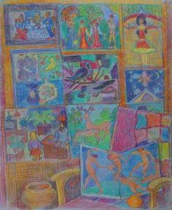 Натюрморт с детскими работами 2006г.